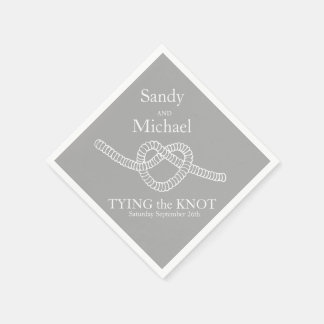 Heart tie the knot wedding grey party paper napkin