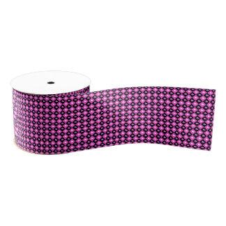 Heart Tiles Hearts Pattern Checked Pink & Black Grosgrain Ribbon