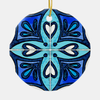 Heart Tiles Inspired by Portuguese Azulejos Blue Christmas Ornament