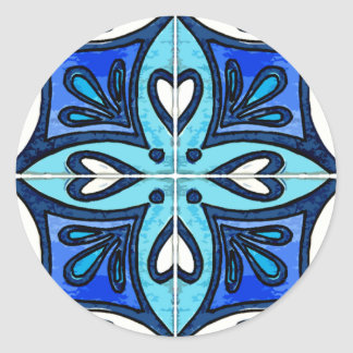 Heart Tiles Inspired by Portuguese Azulejos Blue Classic Round Sticker
