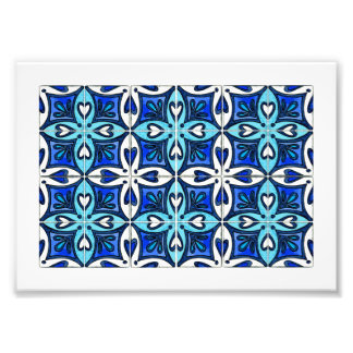 Heart Tiles Inspired by Portuguese Azulejos Blue Photo