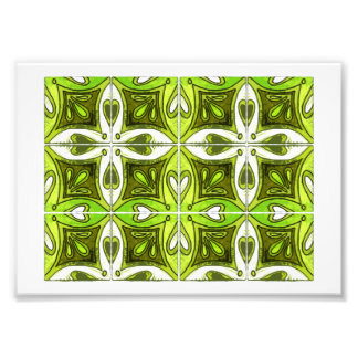 Heart Tiles Inspired by Portuguese Azulejos Green Photo Print