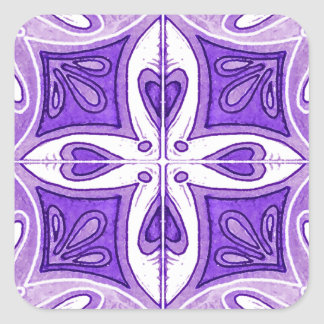 Heart Tiles Inspired by Portuguese Azulejos Purple Square Sticker