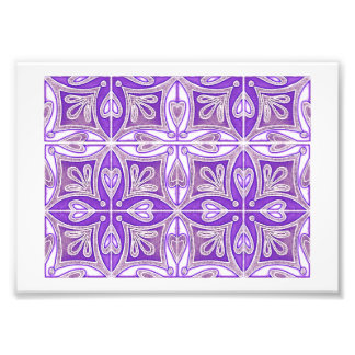 Heart Tiles Inspired Portuguese Azulejos Lavender Photo