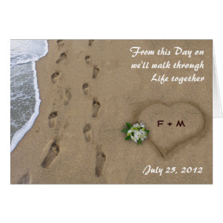 Heart & Tracks in the Sand Greeting Card
