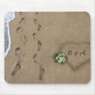 Heart & Tracks in the Sand Mouse Pad