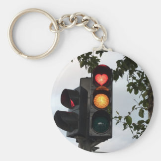 Heart traffic light basic round button key ring