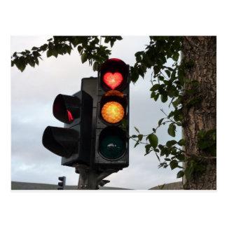 Heart traffic light postcard
