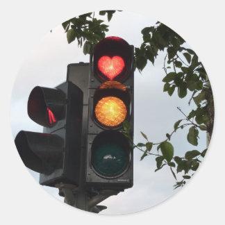 Heart traffic light round sticker