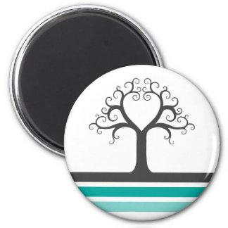 Heart tree and teal aqua blue gray stripes elegant 6 cm round magnet