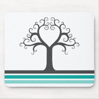 Heart tree and teal aqua blue gray stripes elegant mouse pad
