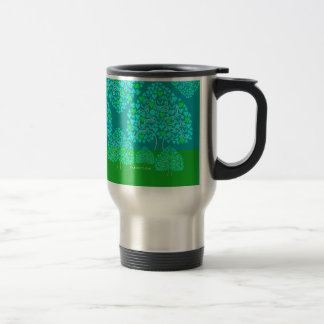 Heart Tree (blue & green) Valentine's Travel Mug