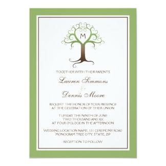 Heart tree monogram initial wedding invitation