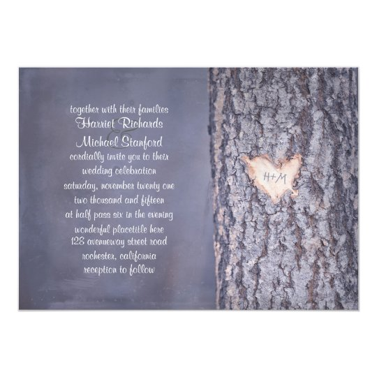 Heart Tree Rustic Country Wedding Invitation