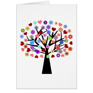 Heart tree with a pair of love birds greeting card