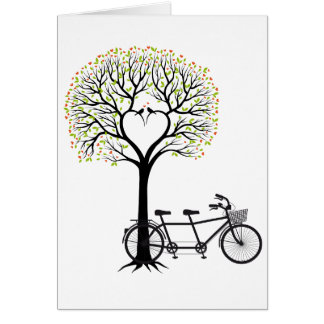 Heart tree with birds and tandem bicycle card