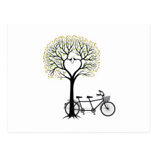 Heart tree with birds and tandem bicycle post card