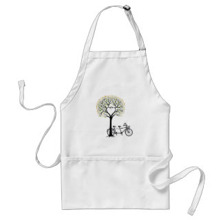 Heart tree with birds and tandem bicycle standard apron