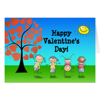Heart Tree with Kids Valentines Day Note Card