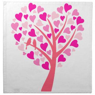 Heart tree with love birds for wedding invitation napkins