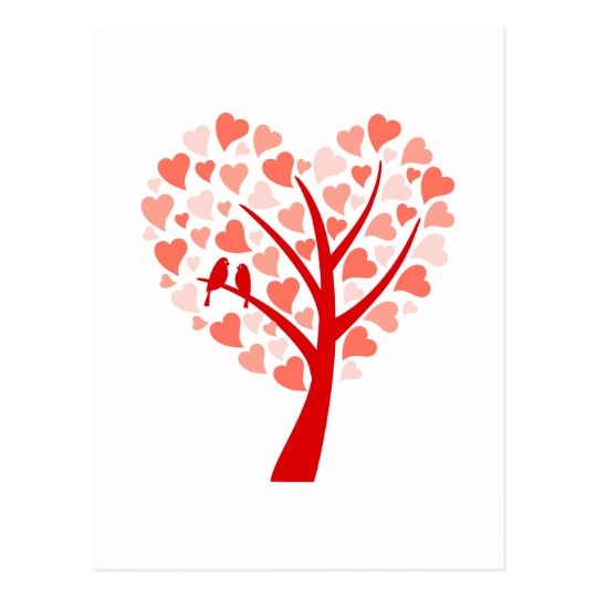 Heart tree with love birds for wedding invitation postcard