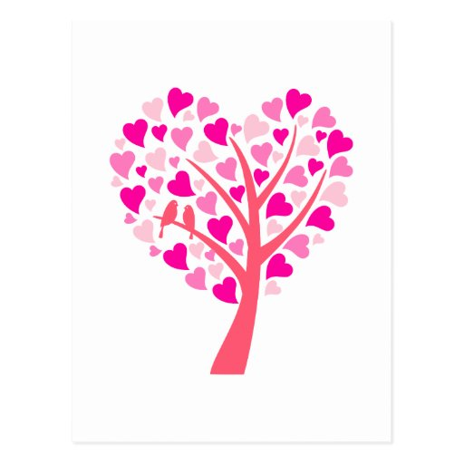 Heart tree with love birds for wedding invitation postcards