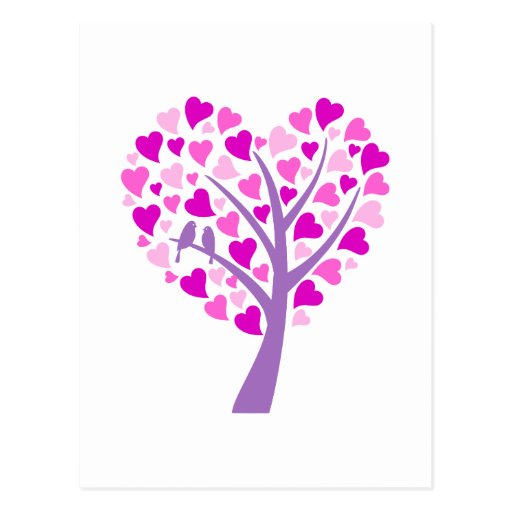 Heart tree with love birds for wedding invitation postcard