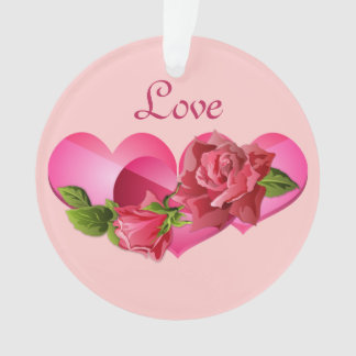 Heart Trio with Pink Roses Valentine's Day Ornament