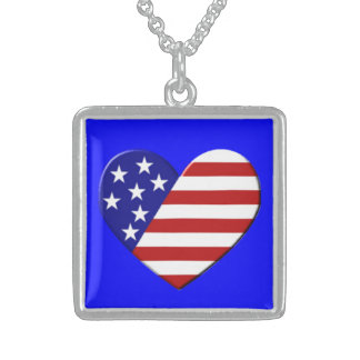 Heart USA Flag Necklaces