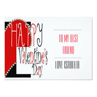 heart valentines classroom school kids 13 cm x 18 cm invitation card