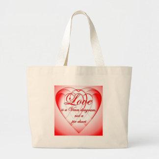 Heart Venn Diagram Jumbo Tote Bag