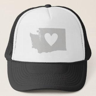 Heart Washington state silhouette Cap