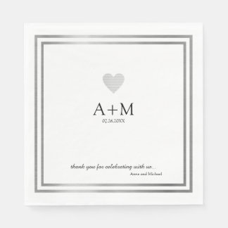 heart wedding celebration B/W reception Disposable Serviette