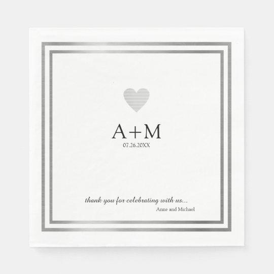 heart wedding celebration B/W reception Disposable Serviette