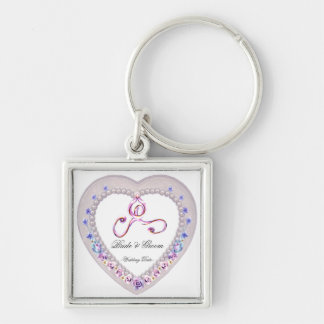 Heart Wedding Keepsake Silver-Colored Square Key Ring
