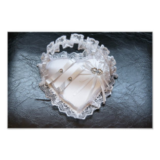 Heart wedding rings pillow photo print