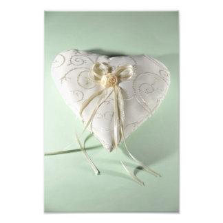 Heart wedding rings pillow art photo