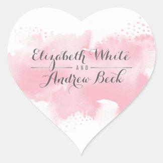 HEART WEDDING SEAL stylish watercolor blush pink Heart Sticker