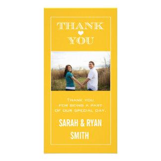 Heart Wedding Yellow Thank You Photo Cards