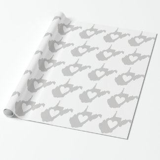 Heart West Virginia state silhouette Wrapping Paper