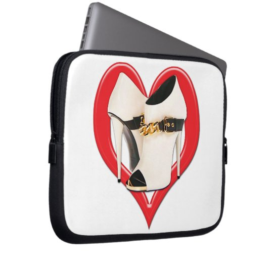 Heart White Leather Boots with Gold Chain Laptop