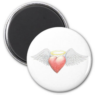 Heart Wing Halo 6 Cm Round Magnet