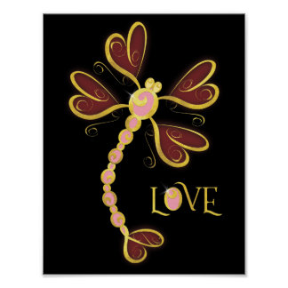 """Heart-winged Dragonfly """"Love"""" gold pretty design Poster"""