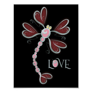 """Heart-winged Dragonfly """"Love"""" silver pretty design Poster"""