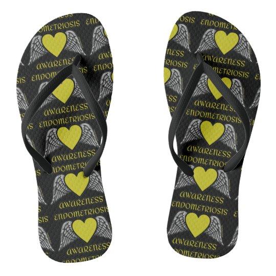 Heart/WingsEndometriosis Flip Flops