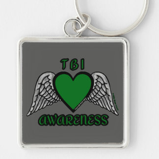 Heart/Wings...TBI Silver-Colored Square Key Ring