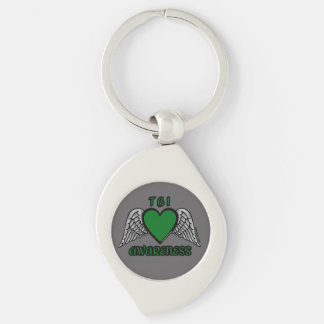Heart/Wings...TBI Silver-Colored Swirl Key Ring