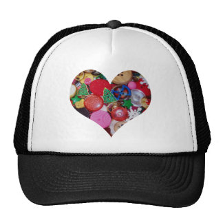 Heart with Christmas Tree Buttons Trucker Hat