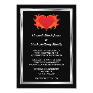 Heart with chrome border biker wedding invitation