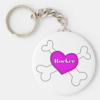 """heart with cross bones """"rocker"""" keychain"""